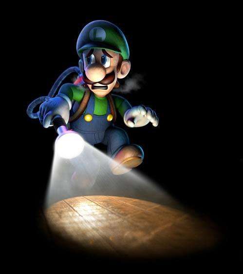 Luigi Tiptoeing with flashlight