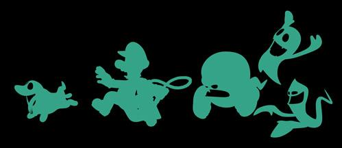 Green Silhouettes of Luigi and the Ghosts