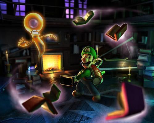 Luigi battling a Poltergeist