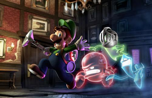 Luigi fleeing from the ghosts