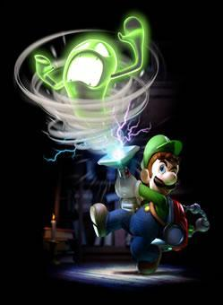 Luigi sucking up a ghost