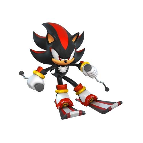 Shadow the Hedgehog skiing
