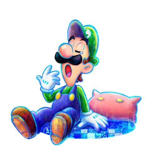 Luigi on his bed yawning in Mario & Luigi Dream Team