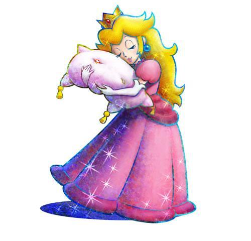 Peach hugging a pillow in Mario & Luigi Dream Team