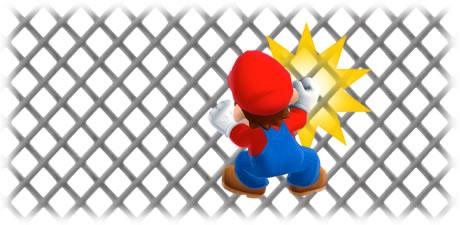 Mario hitting a fence
