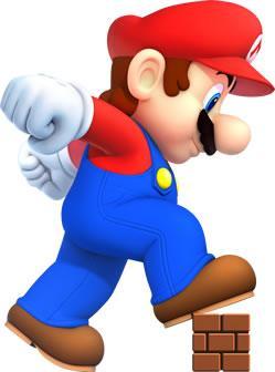 Mega Mario stepping ona block