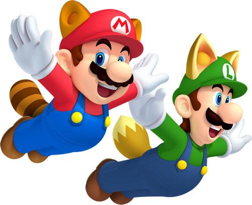 Raccoon Mario and Fox Luigi