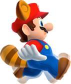 Raccoon Mario gliding down