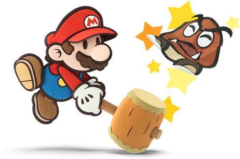 Mario hammering a  Goomba