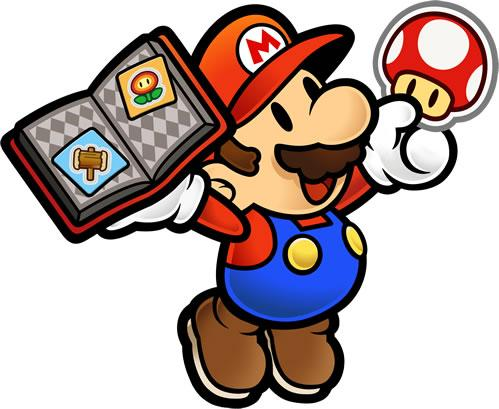 Mario holding a book of stickers and a Mushroom