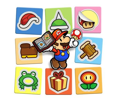 Mario holding a book of stickers