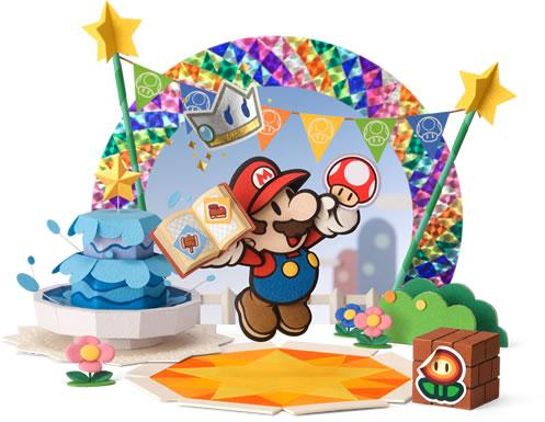 Mario holding a book of stickers with a Sticker Fest background