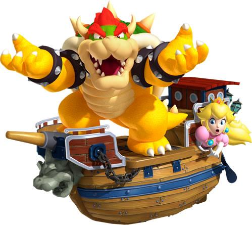 Bowser holding Peach hostage in his airship