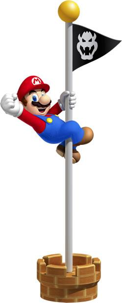Mario holding onto a Flagpole
