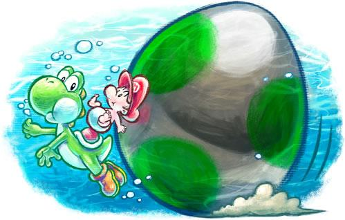 Baby Mario and Yoshi swimming