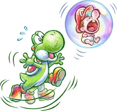 Floating Baby Mario and yoshi
