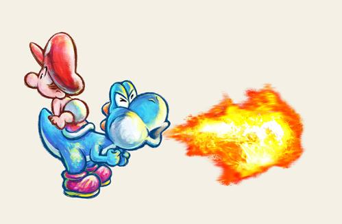 Light Blue Yoshi breathing fire with Baby Mario