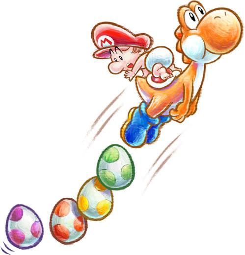 Orange Yoshi and Baby Mario with a trail of Eggs