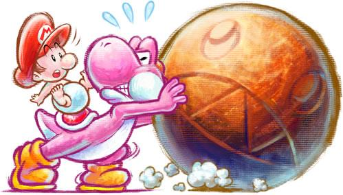 Pink Yoshi and Baby Mario pushing a Chomp Rock