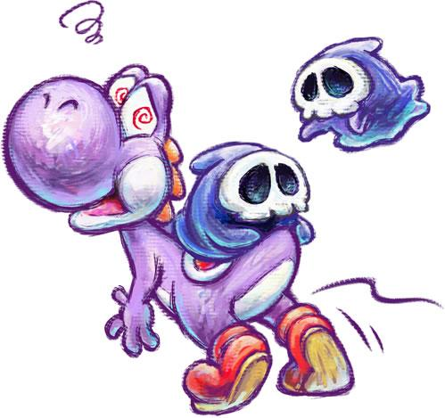 Purple Yoshi and two Grim Leechers