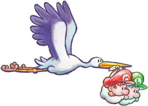 The Stork carrying Baby Mario and Baby Luigi