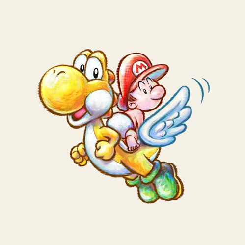Yellow Yoshi and Baby Mario flying