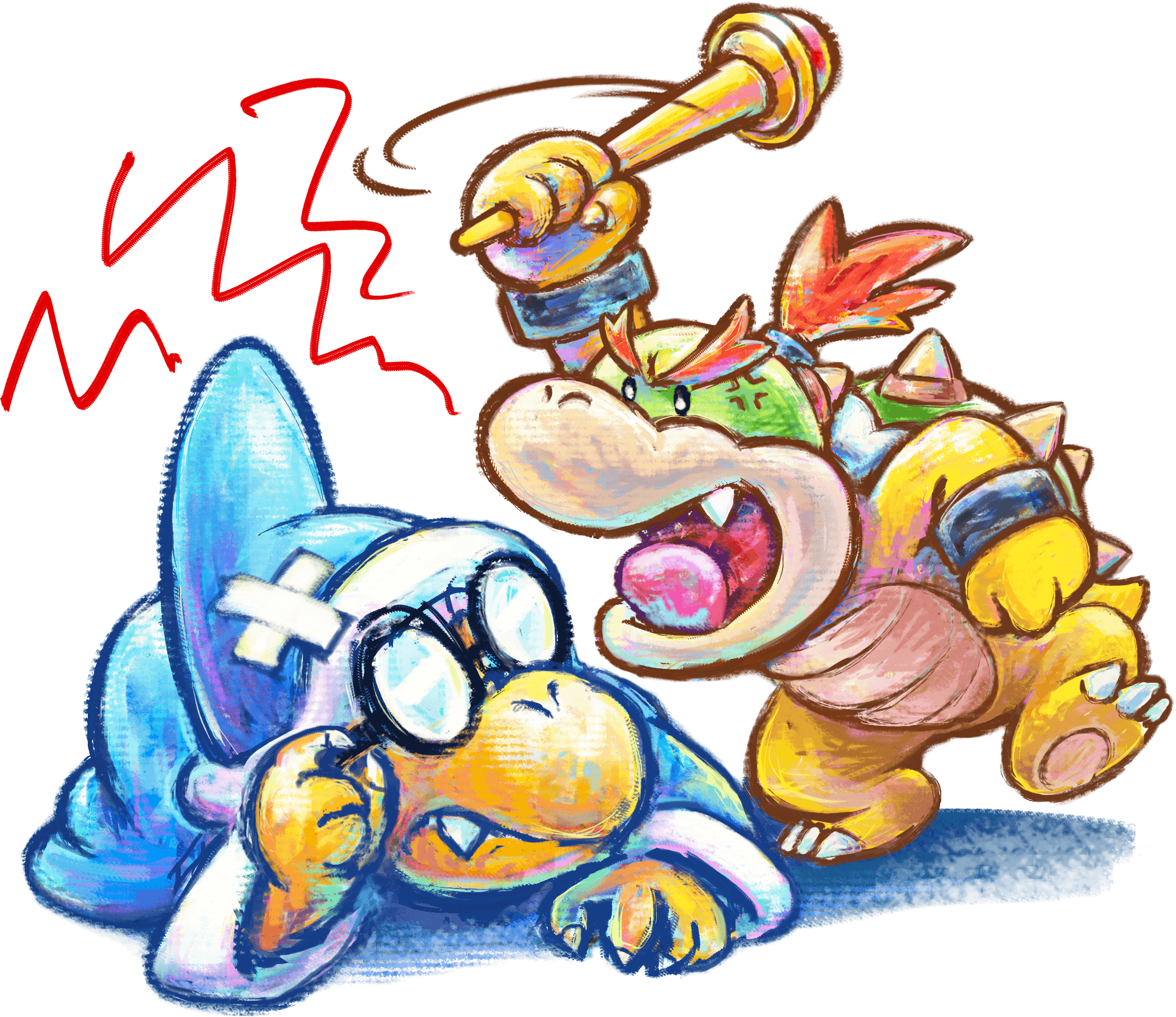 Yoshi s New Island  3DS  Artwork including lots of Crazy Yoshi s and    Yoshi And Bowser
