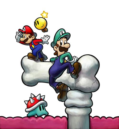 Mario Luigi and Starlow inside Bowser