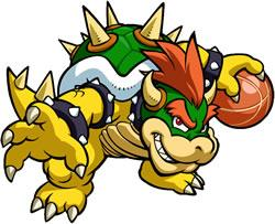 Mario Hoops 3 on 3: Bowser looking menacing holding the ball