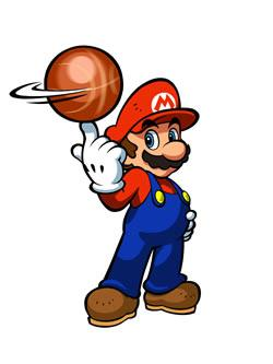 Mario Hoops 3 on 3: Mario spinning the ball on his finger