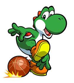 Mario Hoops 3 on 3: Yoshi dribbling the ball