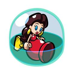 A mini Pauline toy trapped in a bubble