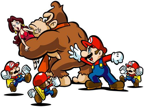 Mario taps DK on the shoulder, he is about to try and rescue Pauline.
