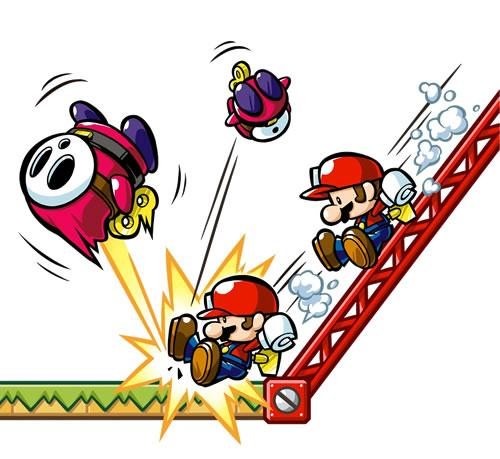 Mini Mario's slide down a metal girder and knock out some mechanical Shy Guys