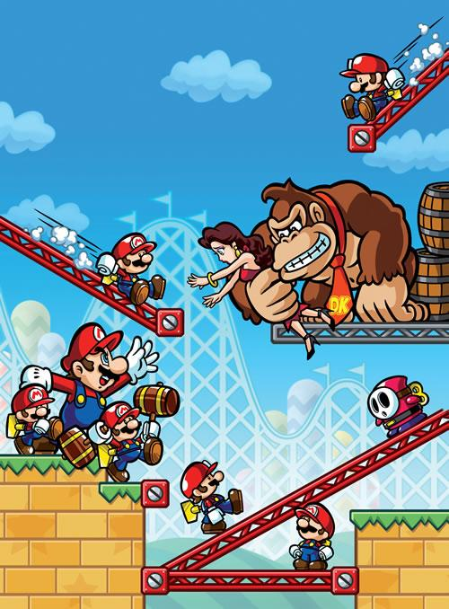 A promotional artwork for Mario vs. Donkey Kong Mini Land Mayhem