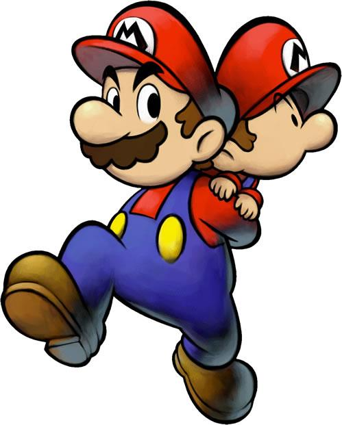 Mario holding Baby Mario on his back