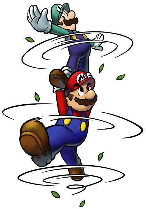 Mario and Luigi performing a Bro's attack with Luigi standing on Mario's shoulders