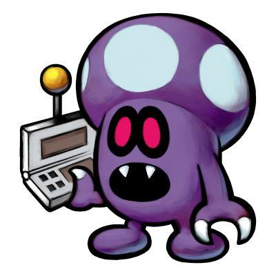 A Shroob holding a remote control.