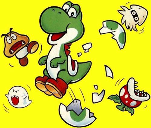 Yoshi hatching from an egg, throwing his foes into disarray!