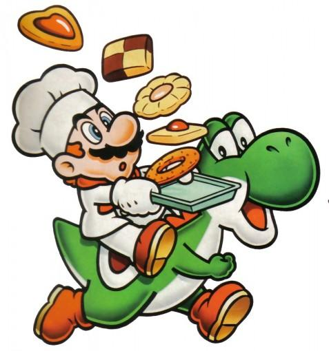 Mario and Yoshi baking cookies