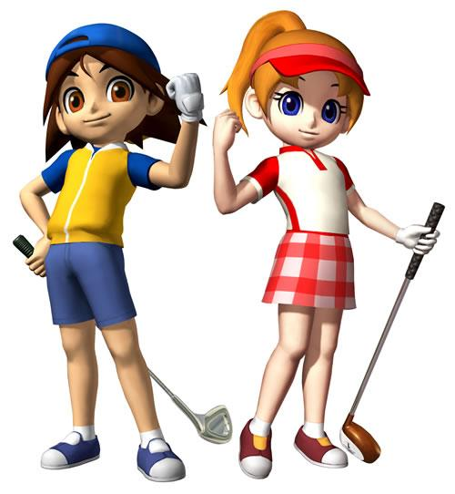 Neil and Ella With Golf Clubs