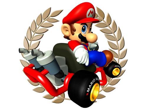 Mario sat in his kart looking menacing