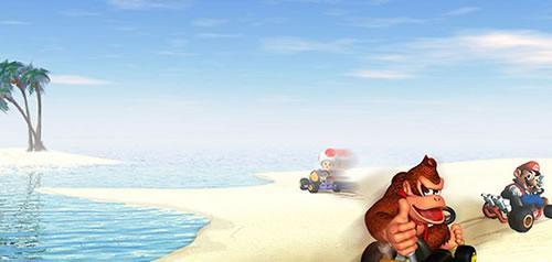 Donkey Kong, Mario and Toad racing on Koopa Beach