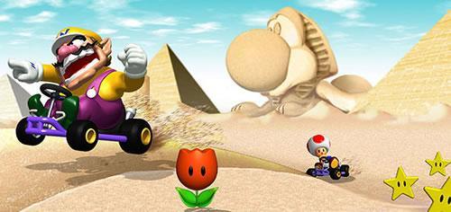 Wario & Toad racing in the desert
