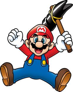 Mario wielding the crazy hammer