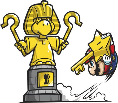 Mario about to activate King Tuts golden statue
