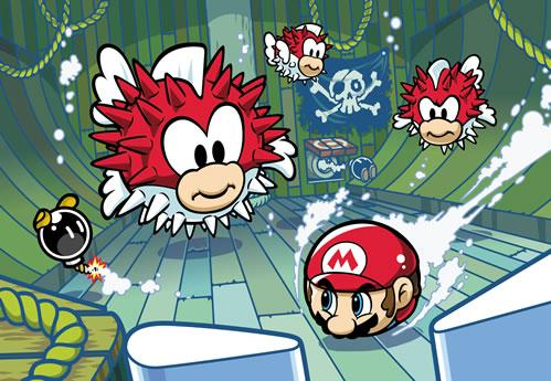 Mario battling Cheep Cheep Pufferfish