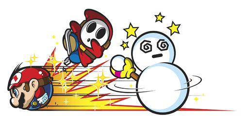 Mario battling a Shy Guy and a Mr Blizzard