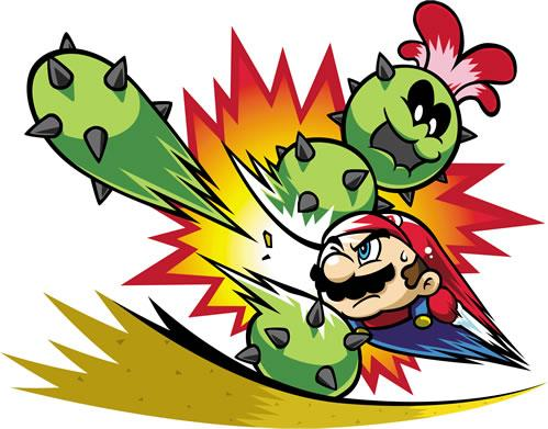 Mario smashing up a Pokey