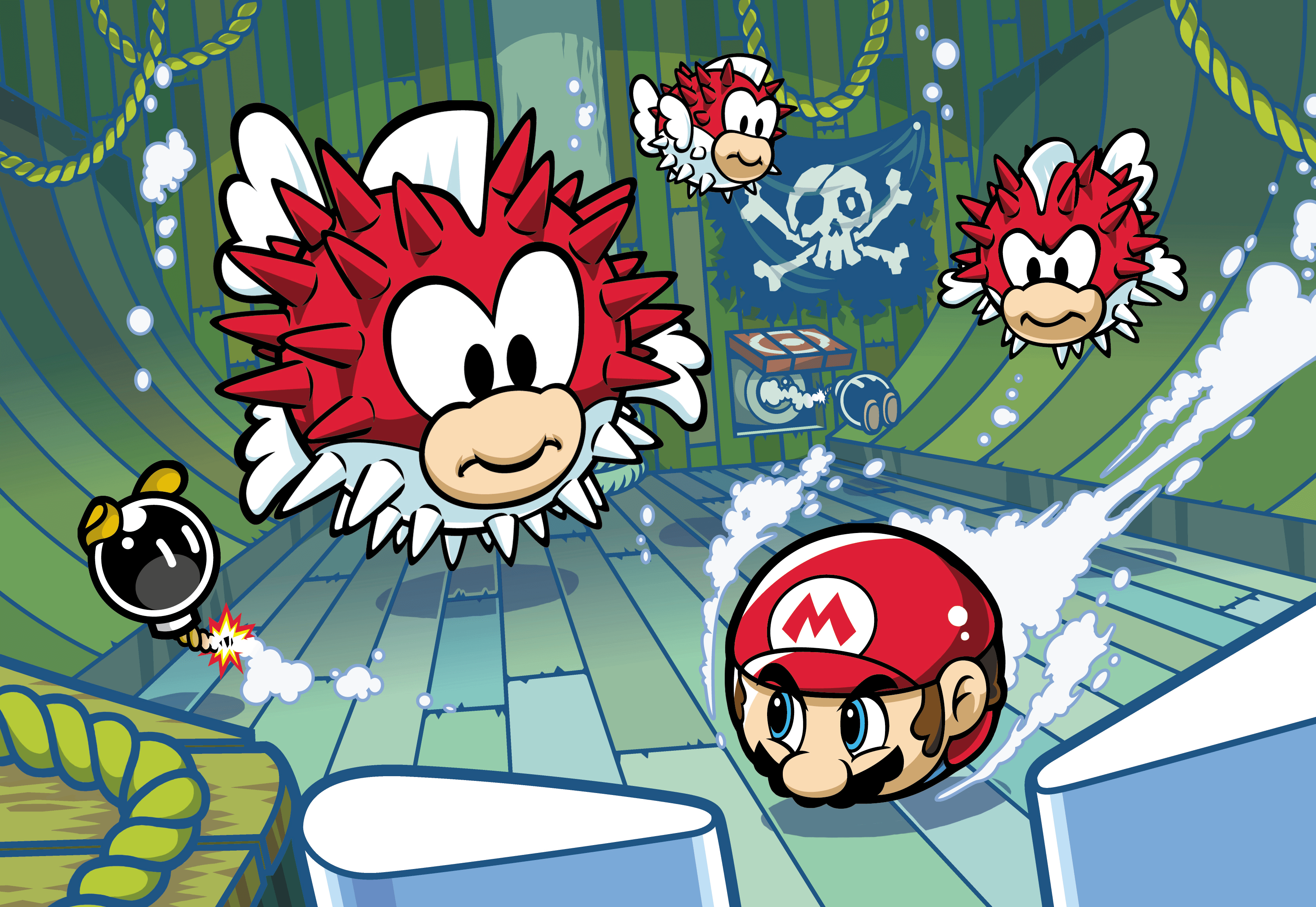 An artwork of Pinball Mario facing off vs Pufferfish